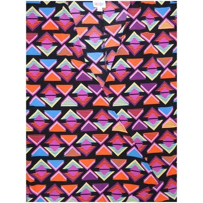 LuLaRoe Lindsay Large Black Multi Color Trangles Kimono Silky Light Weight Made in Vietnam 100% Polyester Large fits 18-22