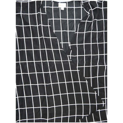 LuLaRoe Lindsay Large Black and White Grid Kimono Silky Light Weight Made in China 100% Polyester Large fits 18-22