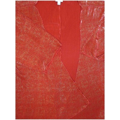 LuLaRoe Lindsay Large Red Gold Elegant Collection Ribbed Stripe Kimono Middle Weight Made in Vietnam 96% Polyester 4% Spandex Large fits 18-22