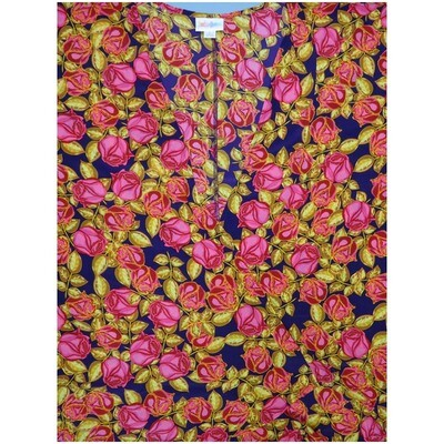 LuLaRoe Lindsay Large Dark Purple Gold Pink Roses Silky Kimono Light Weight Made in Vietnam 100% Polyester Large fits 18-22