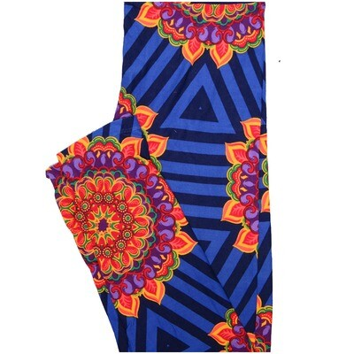LuLaRoe One Size OS Mandala Gold Blue Red Triangle Trippy Leggings (OS fits Adults 2-10)
