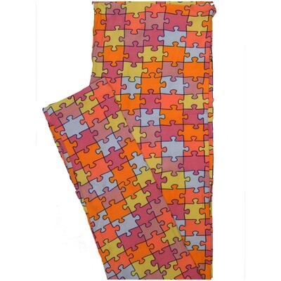 LuLaRoe One Size OS Autism Speaks Puzzle Blue Orange Green Black Leggings (OS fits Adults 2-10)