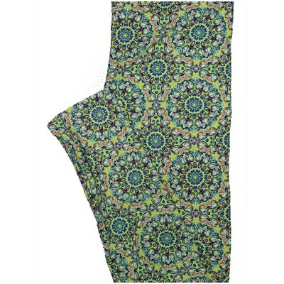LuLaRoe One Size OS 70s Trippy Psychedelic Mandala Light Green Blue Pink Leggings (OS fits Adults 2-10)