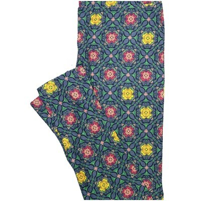 LuLaRoe One Size OS Checkerboard Mandala Blue Pink Yellow Geometric Polka Dot Leggings (OS fits Adults 2-10)