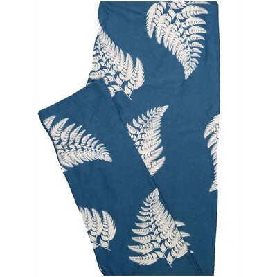 LuLaRoe One Size OS Fern Leaves Gray Blue White Floral Leggings (OS fits Adults 2-10)