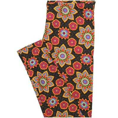 LuLaRoe One Size OS Floral Dark Gray Pink Lavender Mandala Leggings (OS fits Adults 2-10)
