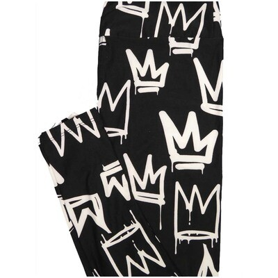 LuLaRoe One Size OS King Crown Black White Leggings (OS fits Adults 2-10)
