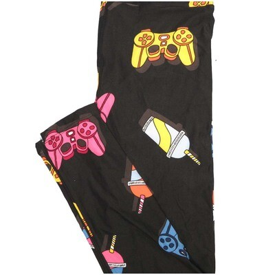 LuLaRoe One Size OS Sodas Game Controller Xbox PS4 Icee Slurpee Black Pink Yellow Blue Leggings (OS fits Adults 2-10)