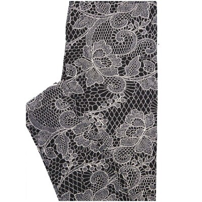 LuLaRoe One Size OS Fishnet Lace Black White Floral Leggings (OS fits Adults 2-10)