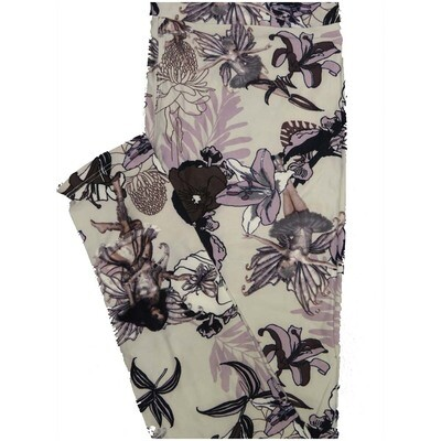 LuLaRoe One Size OS Fairies Tinkerbell Sprite Floral Off White Lavender Purple Leggings (OS fits Adults 2-10)