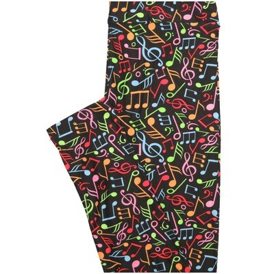 LuLaRoe One Size OS Musical Notes Staph Music Black multicolor Leggings (OS fits Adults 2-10)