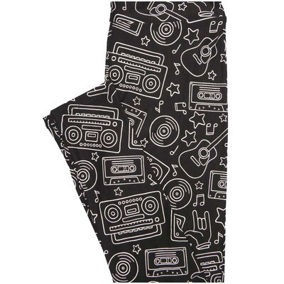 LuLaRoe One Size OS Black White Guitar Cassette Tape Boom Box Stars Record Rock Roll Leggings (OS fits Adults 2-10)