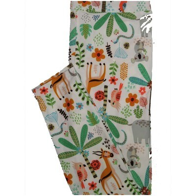 LuLaRoe One Size OS Koala Palm Tree Owl Floral Antelope Off White Green Brown Leggings (OS fits Adults 2-10)