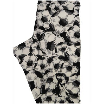 LuLaRoe One Size OS Black White Soccer Balls Leggings (OS fits Adults 2-10)
