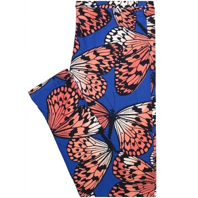 LuLaRoe One Size OS Butterfly Butterflies Blue Pink Black Leggings (OS fits Adults 2-10)