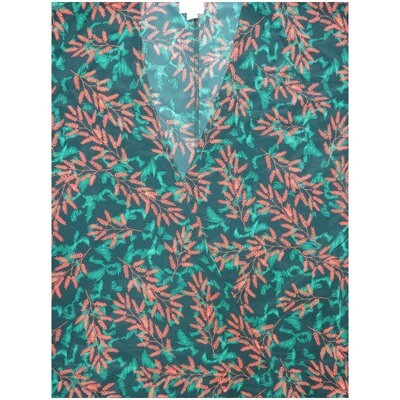 LuLaRoe Lindsay Small S Kimono Green Gray Olive Branches Leaves Silky Light Weight Made in Vietnam 100% Polyester Small fits 00-8
