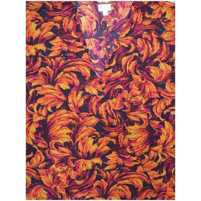 LuLaRoe Lindsay Large Painted Floral Black Orange Kimono Silky Light Weight Made in Vietnam 100% Polyester Large fits 18-22