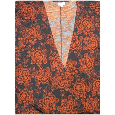 LuLaRoe Lindsay Large L Black Red Fleur de Lis Paisley Kimono Light/Middle Weight Made in Vietnam 95% Polyester 5% Spandex Large fits 18-22