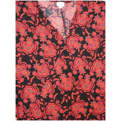 LuLaRoe Lindsay Medium M Black Red Gray Paisley Fleur de Lis Kimono Medium Weight Made in Vietnam 95% Polyester 5% Spandex Medium fits 10-18