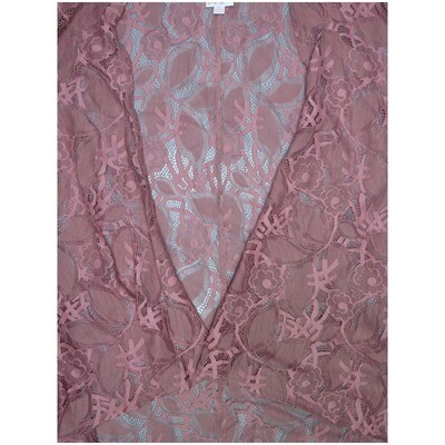 LuLaRoe Lindsay Small S Kimono Knit Rosy Pink Mauve Lace Floral Ultra Light Weight Made in Vietnam 71% Nylon 29% Cotton Small fits 00-8