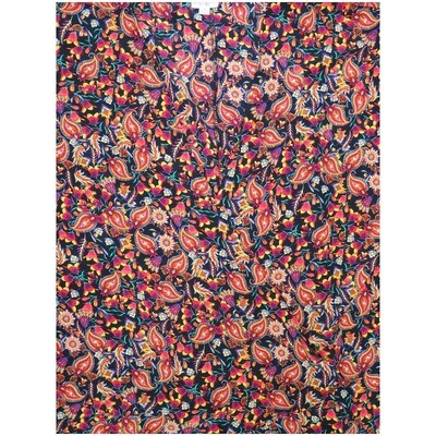 LuLaRoe Lindsay Small S Kimono Paisley Floral Black White Yellow Blue Red Silky Light Weight Made in China 100% Polyester Small fits 00-8