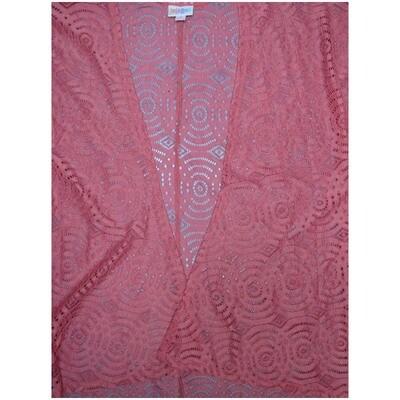 LuLaRoe Lindsay Small S Kimono Pink Lace Interlocking Concentric Circles Silky Light Weight Made in Vietnam 90% Nylon 10% Elastane Small fits 00-8