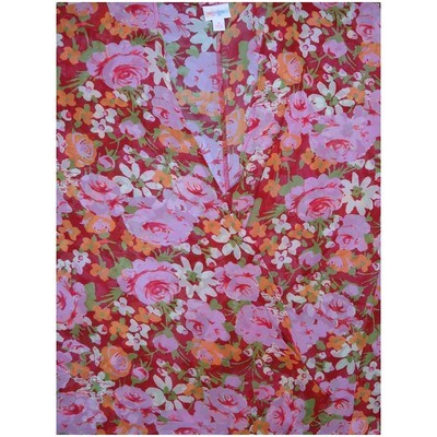 LuLaRoe Lindsay Small S Kimono Roses Red Pink Green Floral Silky Light Weight Made in Vietnam 100% Polyester Small fits 00-8