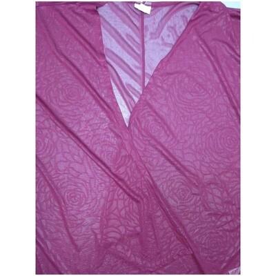LuLaRoe Lindsay Small S Kimono Roses Magenta Sheer Silky Ultra Light Weight Made in Vietnam 100% Polyester Small fits 00-8