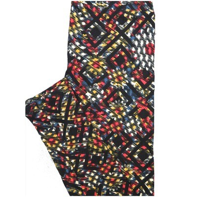 LuLaRoe One Size OS 70s Trippy Psychedelic Geometric Maze Black White Green Leggings (OS fits Adults 2-10)