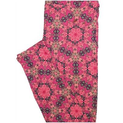 LuLaRoe One Size OS 70s Trippy Psychedelic Mandala Pink Black Green Leggings (OS fits Adults 2-10)