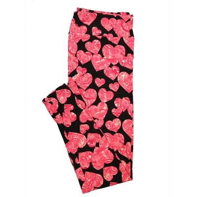 LuLaRoe One Size OS Trippy Pink Hearts on Black Valentines Leggings (OS fits Adults 2-10)