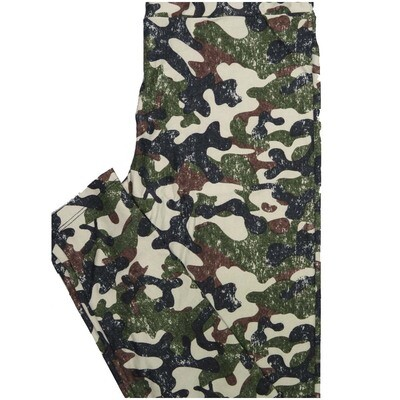 LuLaRoe One Size OS Camouflage Green Brown Gray Leggings (OS fits Adults 2-10)