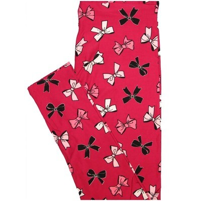LuLaRoe One Size OS Bow Ties Bows Red White Black Pink Leggings (OS fits Adults 2-10)