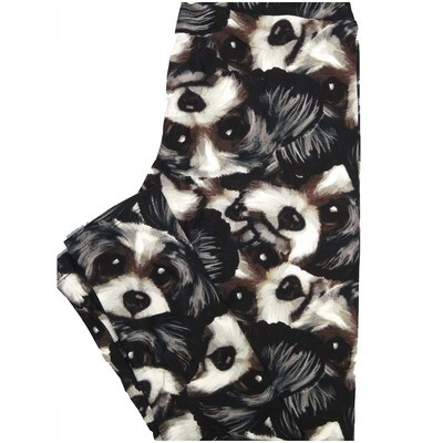 LuLaRoe One Size OS Dogs Puppy Schnauzer Black Brown Gray Leggings (OS fits Adults 2-10)