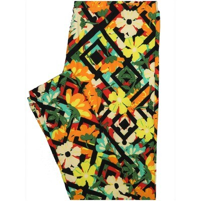 LuLaRoe One Size OS Floral Maze Black Yellow White Red Geometric Leggings (OS fits Adults 2-10)