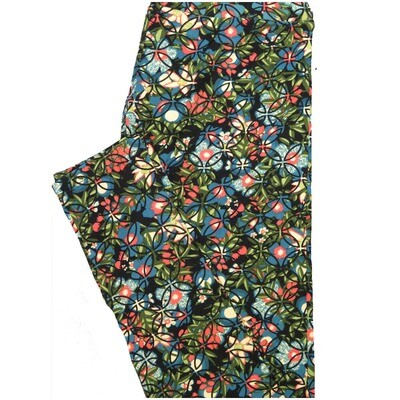 LuLaRoe One Size OS Black Teal White Peach Floral Geometric Leggings (OS fits Adults 2-10)