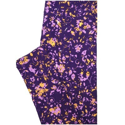 LuLaRoe One Size OS Blue Light Blue Yellow Floral Leggings (OS fits Adults 2-10)