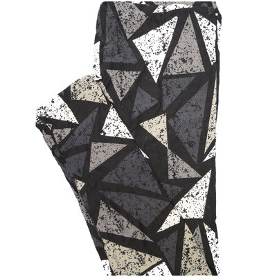 LuLaRoe One Size OS Gray White Charcoal Triangles Geometric Leggings (OS fits Adults 2-10)