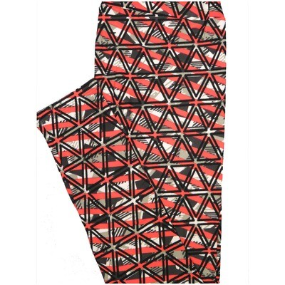 LuLaRoe One Size OS Triangles Black White Watermelon Geometric Leggings (OS fits Adults 2-10)