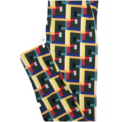LuLaRoe One Size OS Large Ss 5s Dark Gray Blue Yellow Red Geometric Leggings (OS fits Adults 2-10)
