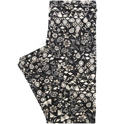 LuLaRoe One Size OS Geometric Floral Black White Gray Leggings (OS fits Adults 2-10)