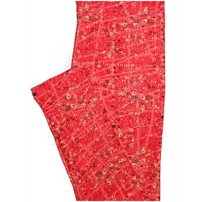 LuLaRoe One Size OS Geometric Red Yellow Black Leggings (OS fits Adults 2-10)
