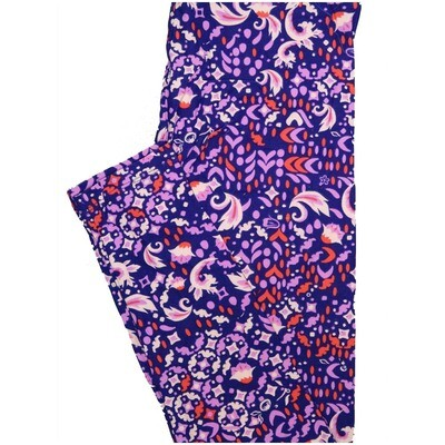 LuLaRoe One Size OS Geometric Floral Dark Blue Purple Pink Leggings (OS fits Adults 2-10)