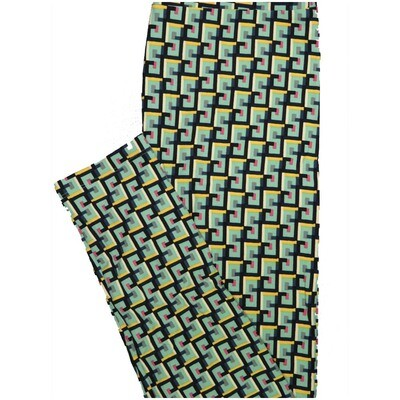 LuLaRoe One Size OS Ss 5s Geometric Green Yellow Black Red Leggings (OS fits Adults 2-10)