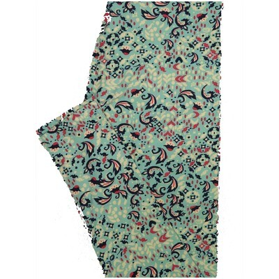 LuLaRoe One Size OS Geometric Floral ly Blue Pink White Leggings (OS fits Adults 2-10)