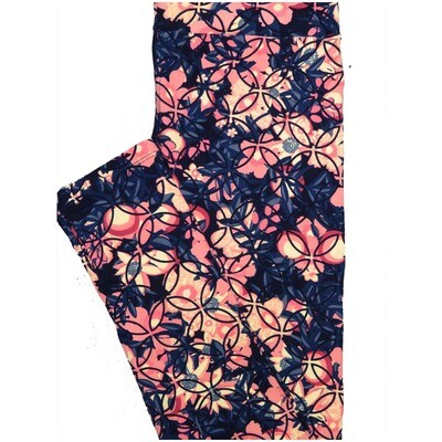 LuLaRoe One Size OS Floral Geometric Pink Blue Leggings (OS fits Adults 2-10)