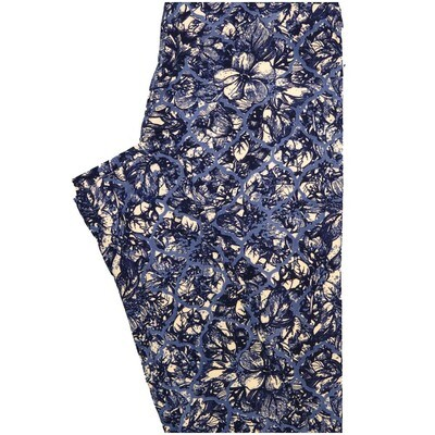 LuLaRoe One Size OS Floral Geometric Dark Blue Light Blue Off White Leggings (OS fits Adults 2-10)