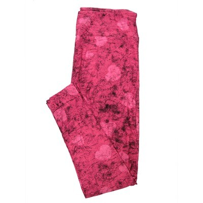 LuLaRoe One Size OS Batik Look Pink on Pink Hearts Valentines Leggings (OS fits Adults 2-10)