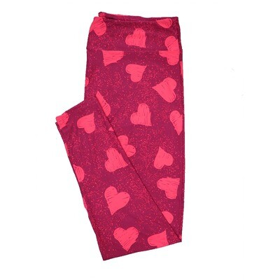 LuLaRoe One Size OS Scribbled Hearts Pink Red Valentines Leggings (OS fits Adults 2-10)