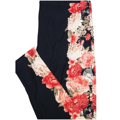 LuLaRoe One Size OS Floral Be Mine Valentines Floral Navy Coral Pink Leggings (OS fits Adults 2-10)